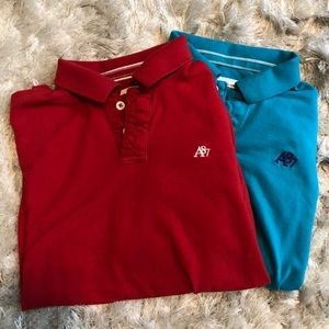 2 Men's Aeropostale XL Polo Bundle - Red & Teal